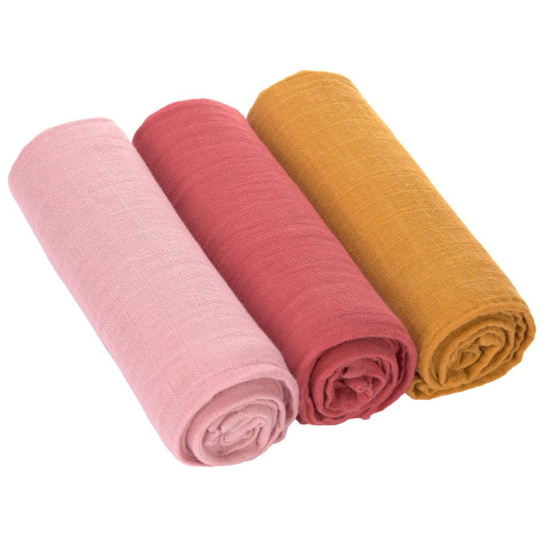 Lässig Swaddle & Burp Blanket L Rose/Rosewood/Mustard