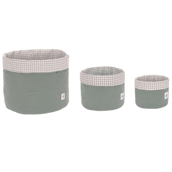 Lässig Storage Basket Muslin 3er Set Green
